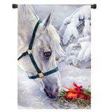 Christmas White Horse Banner Flag - Season Finds