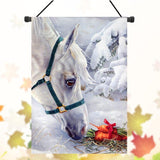 Christmas White Horse Banner Flag - HorsinRound - 3