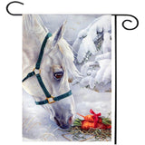 Christmas White Horse Banner Flag - HorsinRound - 2