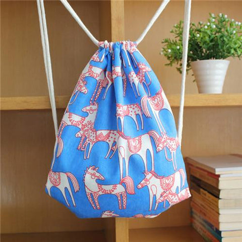 Backpack Horse Print Cotton