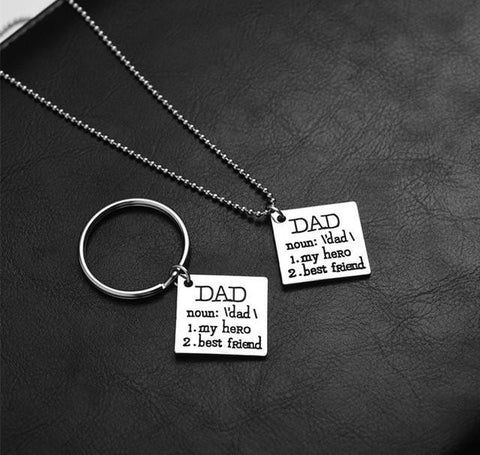 Dad My Hero and Best Friend Necklace and Key Chain Set - Season Finds