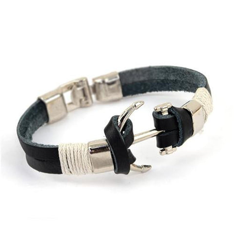 Vintage Rudder & Anchor Leather Bracelet - Season Finds