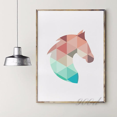 Geometric Horse Head Canvas NO FRAME - HorsinRound - 2