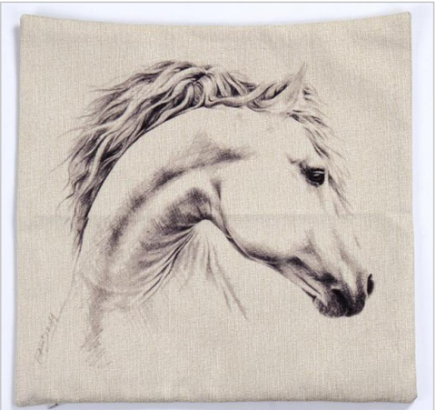 White Horse Cushion Case - HorsinRound - 1