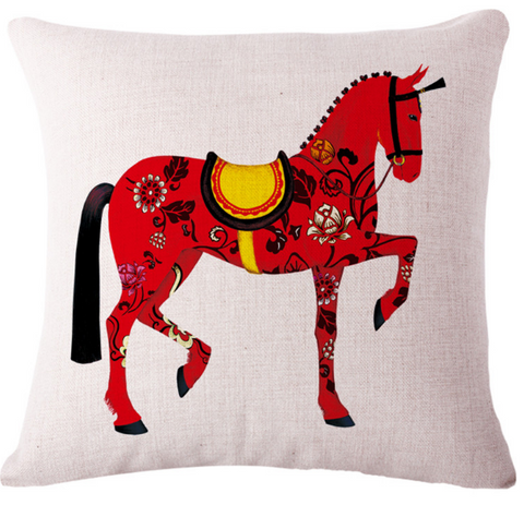 Red Horse Cushion Case - HorsinRound - 2