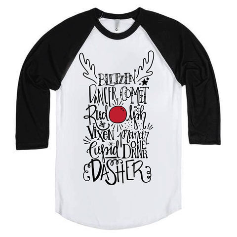 Adult Reindeer Names Christmas Tee