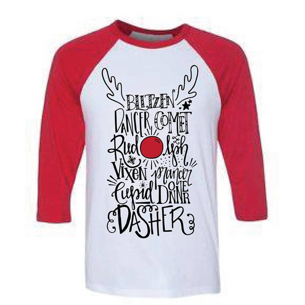 Infant - Youth Reindeer Names Holiday Tee