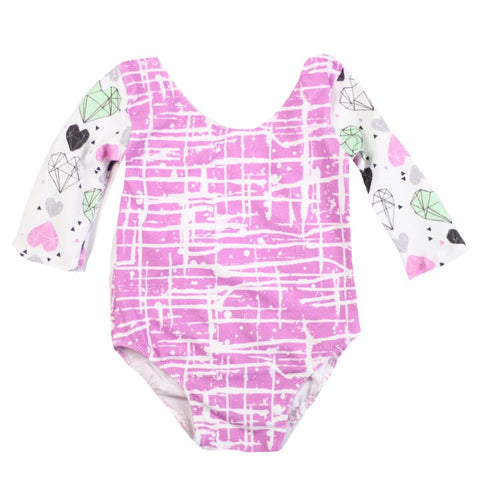 Fushia Graffiti Leotard - With Sleeve Options