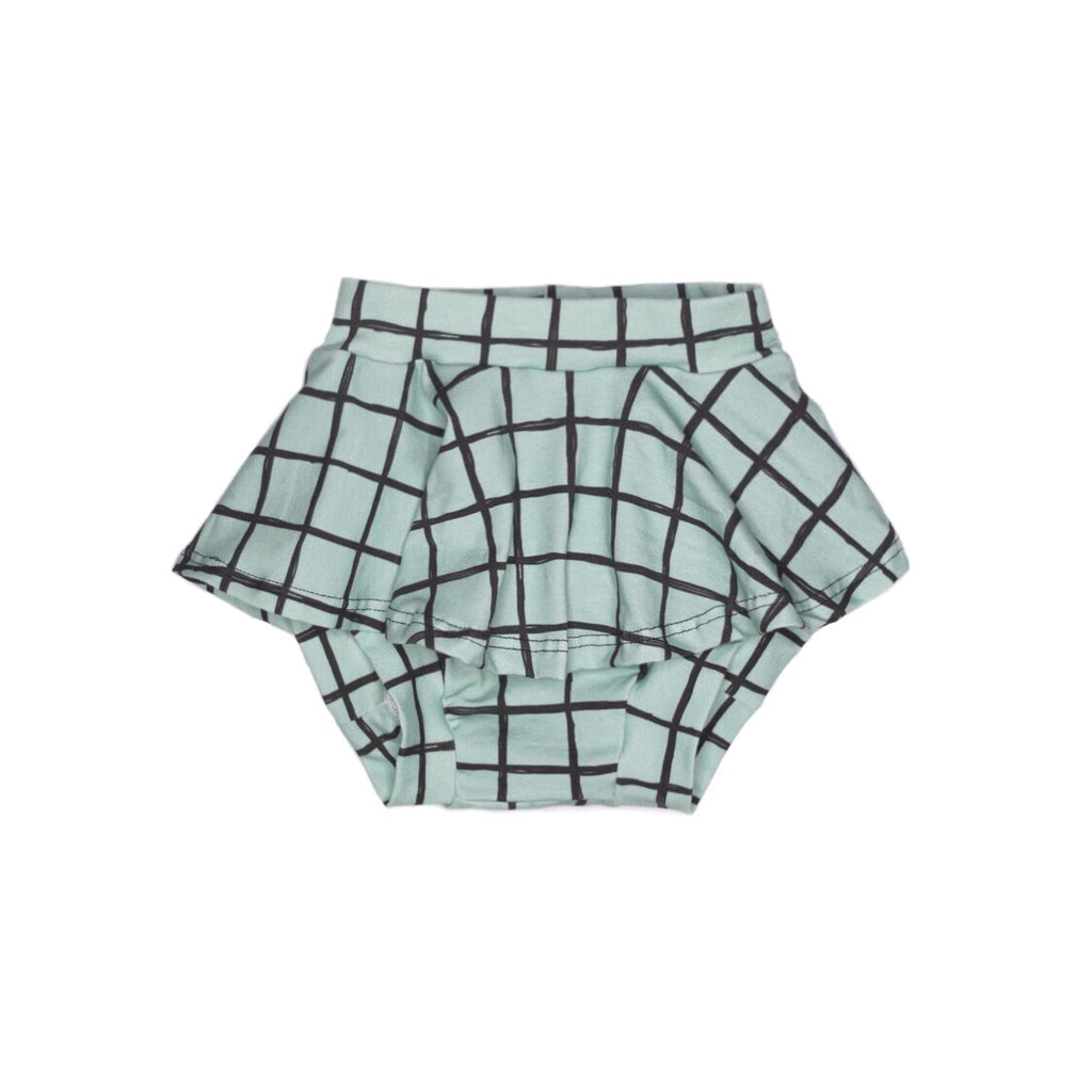 Soft Green Grid Skirted Bloomers