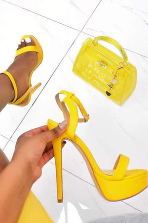 Yellow Platform Heeled Sandals (2335397969979)