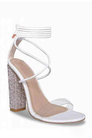 White Clear Lace Up Diamante Block Heeled Sandals (2335401279547)