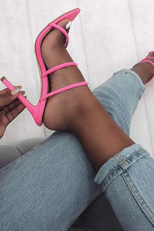 Deeppink Strappy High Heeled Mules (2335400689723)
