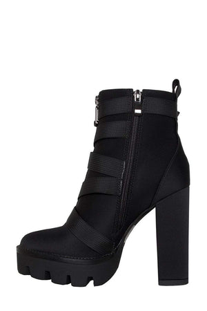 Black Zip Chunky Buckle Platform Ankle Boots (2335401246779)
