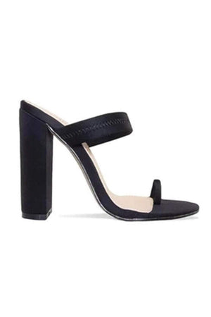 Black Toe Loop High Heeled Mules (2335397216315)