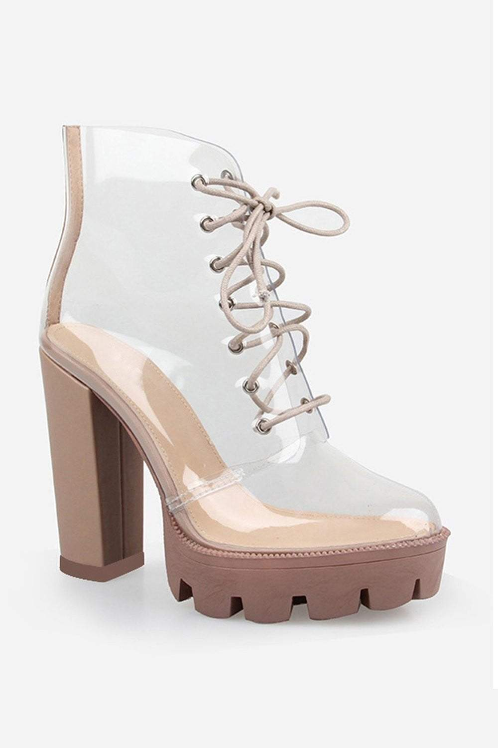 Beige Chunky Clear Lace Up Platform Heeled Boots