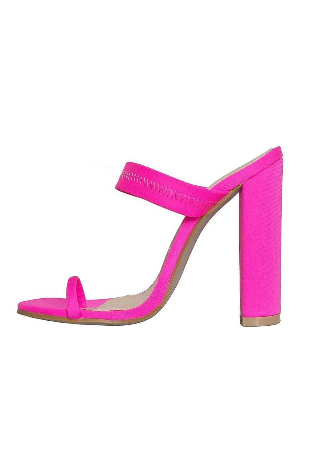 Neon Pink Toe Loop High Heeled Mules (2335397183547)