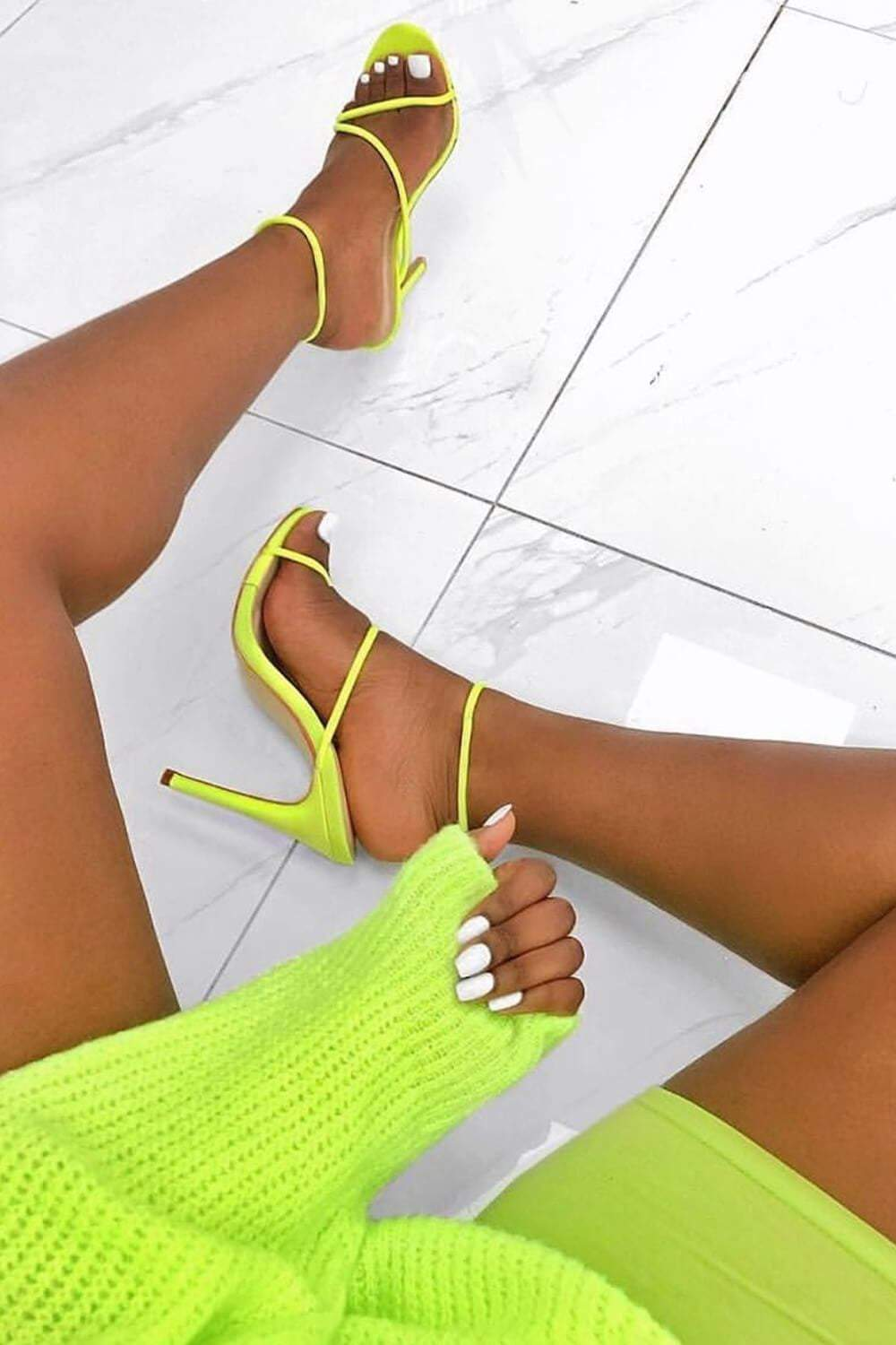 Neon Yellow Strappy Toggle Detail Heeled Sandals (2335399444539)