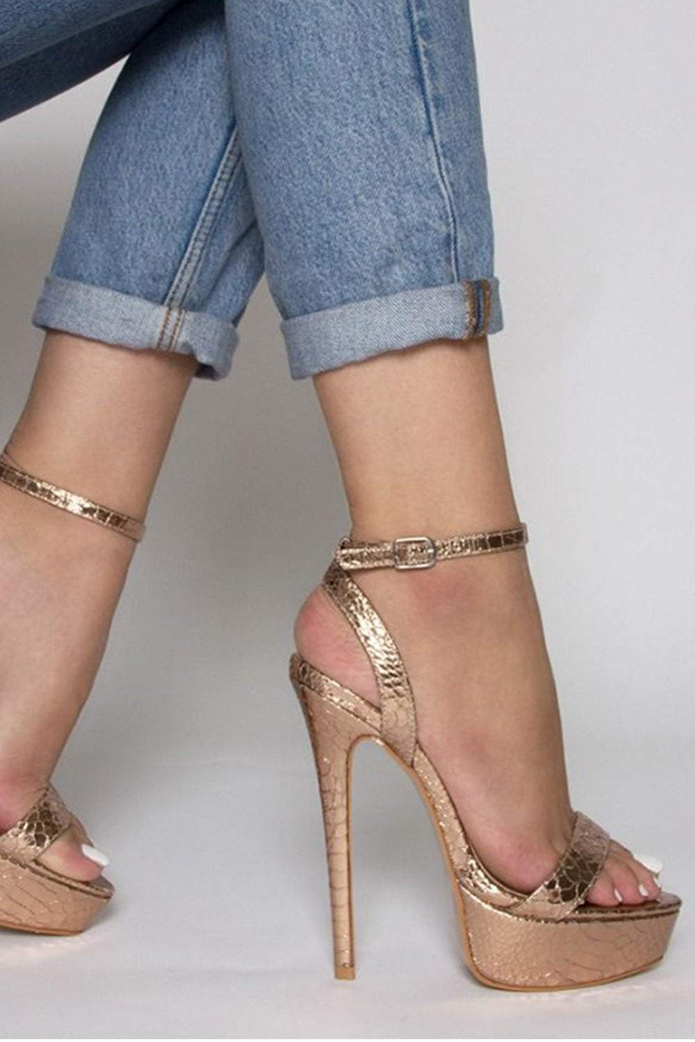 Rose Gold Snake Platform Heeled Sandals (2335397904443)