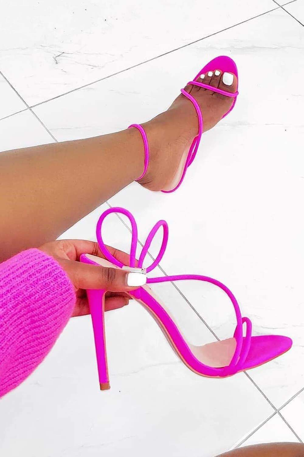 Neon Pink Strappy Toggle Detail Heeled Sandals (2335399346235)
