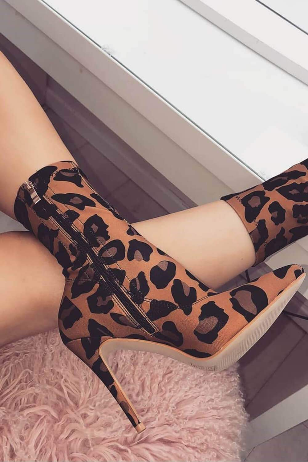 Leopard Print Pointed Sock Stiletto Heeled Boots (2335398723643)