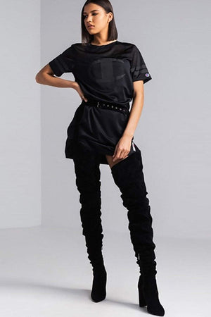 Black Suede Belted Thigh High Boots (2335398330427)