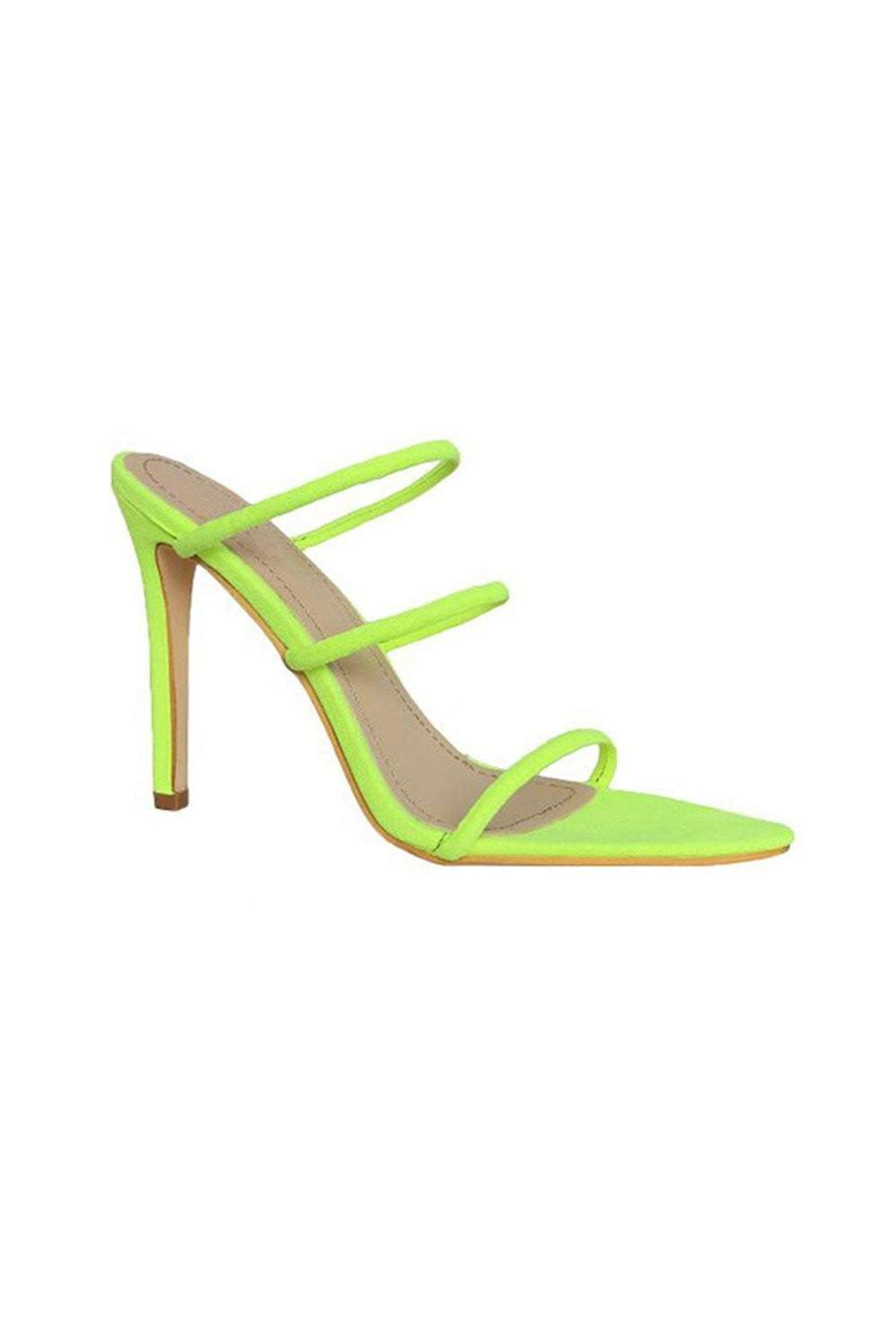 Neon Yellow Strappy High Heeled Mules (2335400722491)