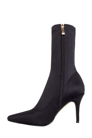 Black Pointed Sock Stiletto Heeled Boots (2335398428731)