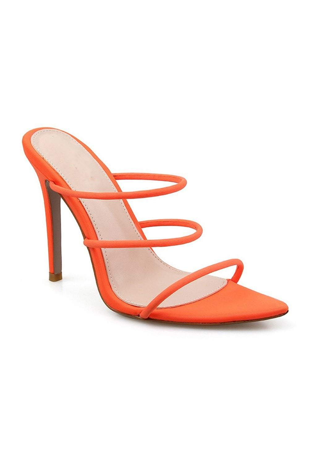 Orangered Strappy High Heeled Mules (2335400624187)