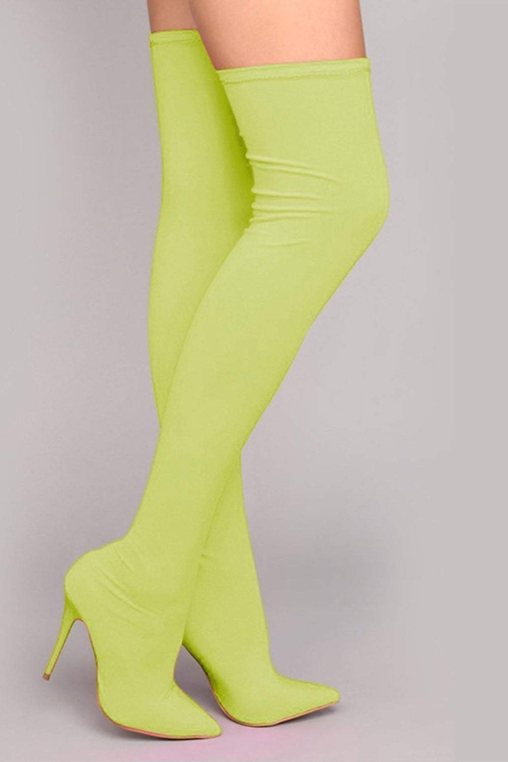 Neon Yellow Thigh High Boots