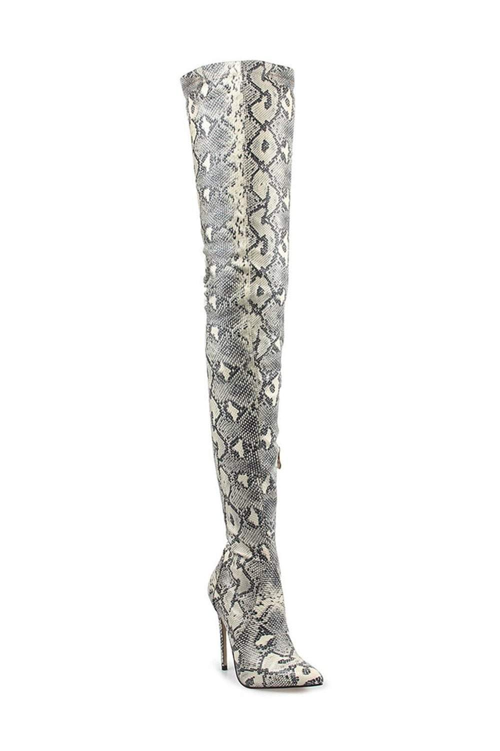 Lightgray Snake Print Stiletto Thigh High Boots (2335400919099)