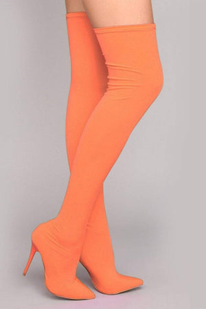 Neon Orange Thigh High Boots (2335400460347)
