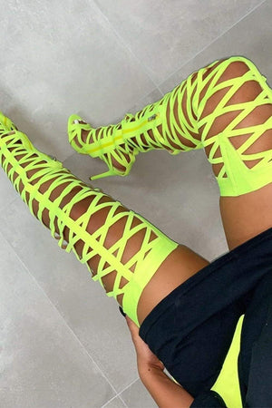 Neon Yellow Cut-Out Belted Thigh High Heels (2335400296507)