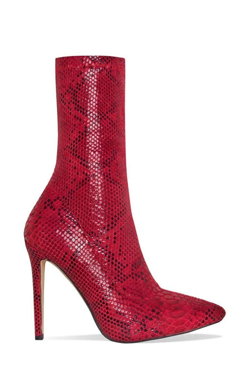 Red Snake Faux Pointed Sock Stiletto Heeled Boots (2335398821947)