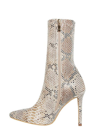 Beige Snake Faux Pointed Sock Stiletto Heeled Boots