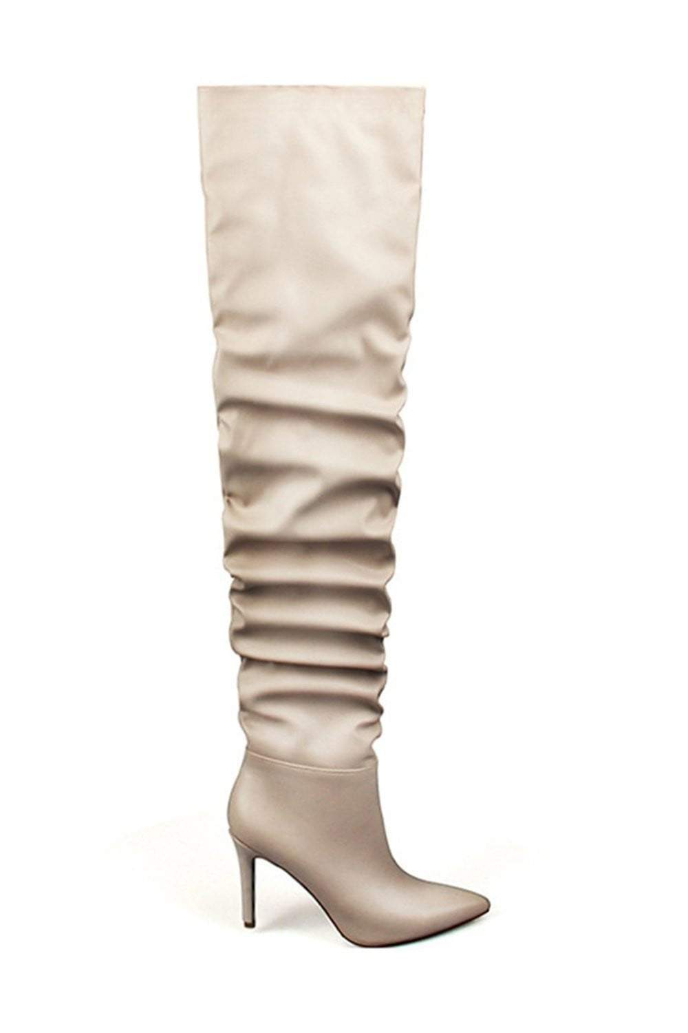 Nude Ruched Stiletto Thigh High Boots (2335395971131)