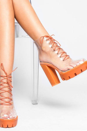 Orange Chunky Clear Lace Up Platform Heeled Boots (2335399084091)