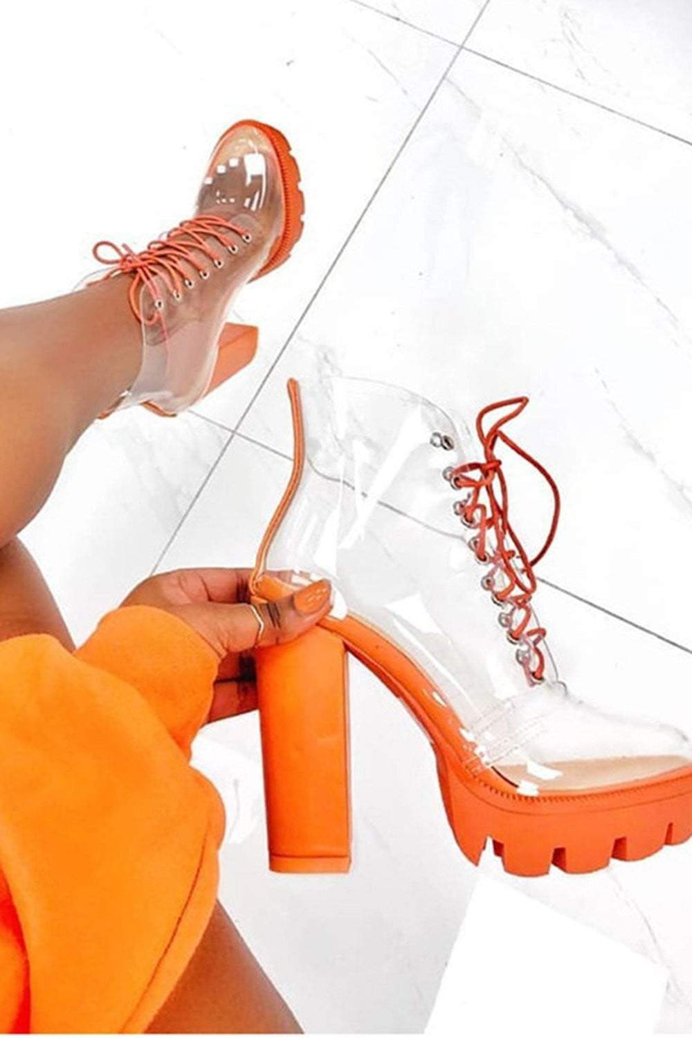 Orange Chunky Clear Lace Up Platform Heeled Boots