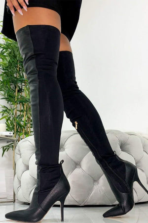 Black Snake Heeled Thigh High Boots (2335398363195)