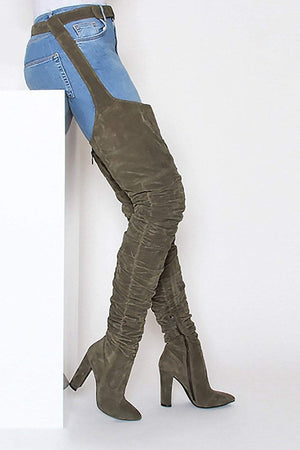 Seagreen Suede Belted Thigh High Boots (2335398264891)