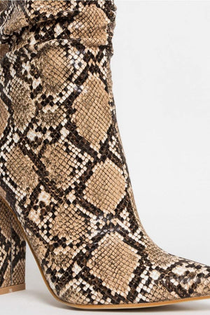 Snake Ruched Knee High Boots (2335398166587)