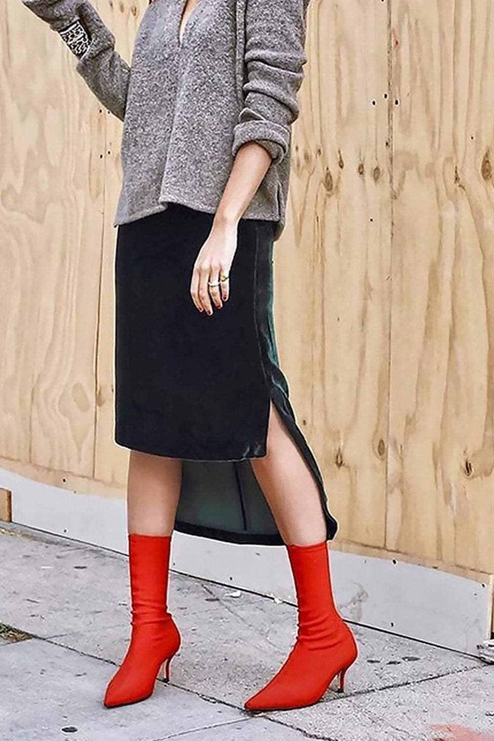 Red Pointed Sock Stiletto Heeled Boots (2335397511227)