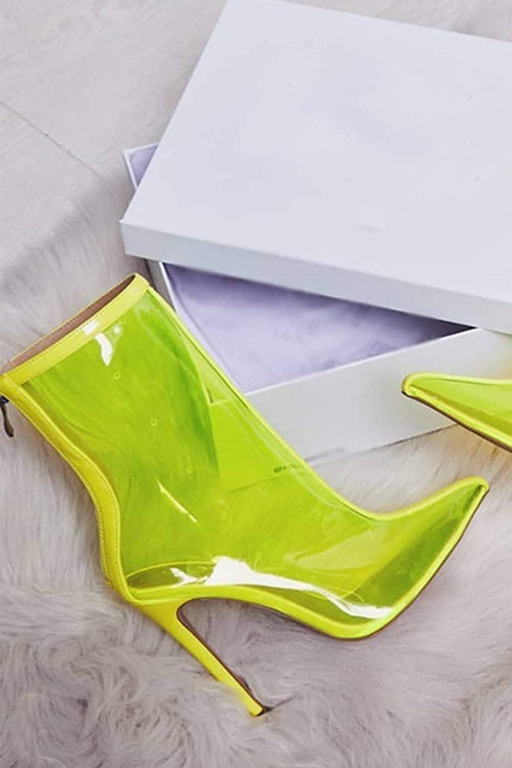 Neon Yellow Clear Pointed Heeled Ankle Boots (2335397052475)