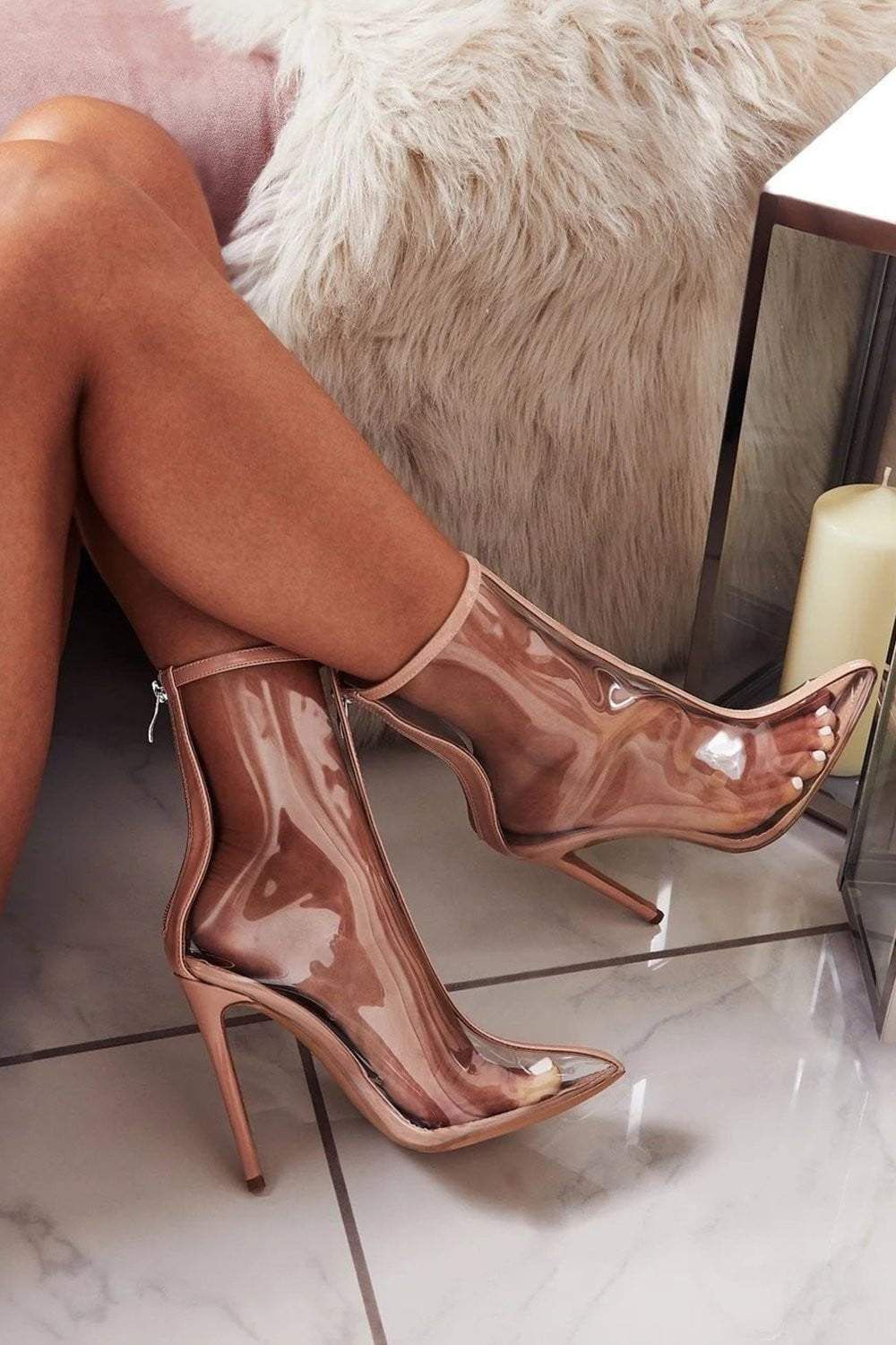 Nude Clear Pointed Heeled Ankle Boots (2335396659259)
