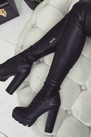 Black Chunky Platform Thigh High Boots (2335395708987)