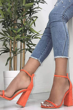 Orange Red Barely There Block Heeled Sandals