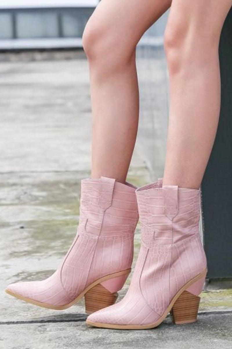 Pink Croc Cut-Out Heel Mid Western Cowboy Boots (4095660064827)