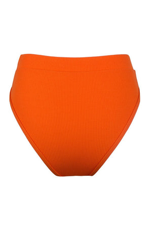 Orange Ribbed High Waist Bikini Bottoms (2117255168059)