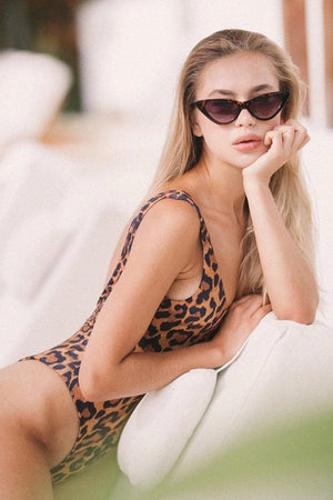 Leopard Backless One Piece Swimsuit