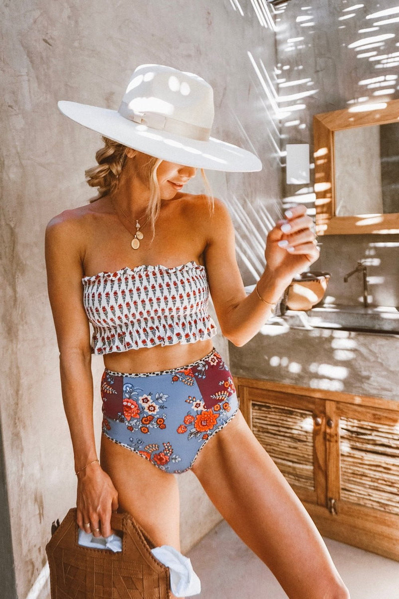 Floral Print High Waisted Bikini Bottom (2249591980091)