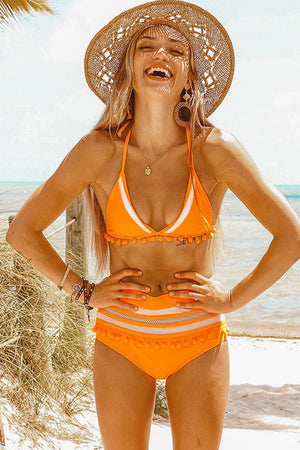Orange Pom Pom Triangle Halter Bikini Top (2276732862523)